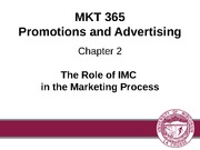 Chapter 2: The Role of IMC in the Marketing Process