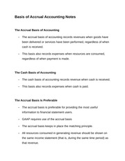 Basis of Accrual Accounting Notes
