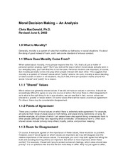Moral Decision Making - An Analysis