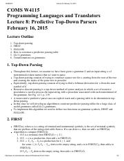 Lecture 8 Predictive Top-Down Parsers