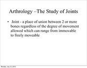 ANAT 1507 Introduction to Joints
