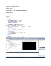 Unit 10 Lab 10.1 File Access and Visual Basic