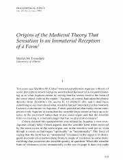 Tweedale origina of the Medeival Theory that Sensatio  is an Immaterial Reception of a Form