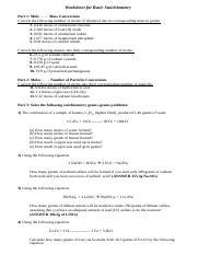 STOICHIOMETRY REVIEW WORKSHEET - Worksheet for Basic ...