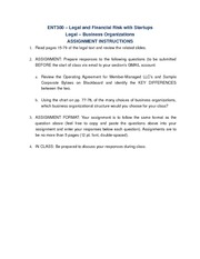 Legal - Business Organizations Assignment Instructions