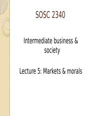 Lecture F5 - Market and morals