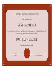 Sandra Parker Bachelor Degree