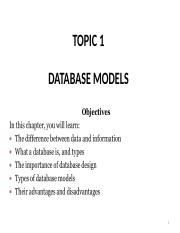 TOPIC 1 - DATABASE CONCEPTS