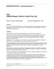 Assignment 1 -  Ensure safe workplace Report