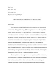 Biol301L - Biophysical Ecology Lab Report (Rough Draft)