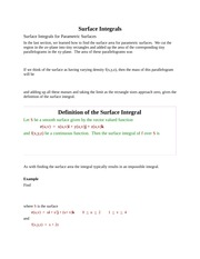 Surface Integrals
