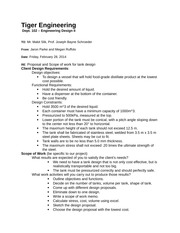 Tiger Engineering tank project Memo