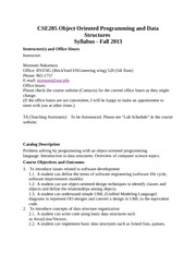 CSE205 Object Oriented Programming and Data Structures Syllabus