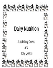 Chapter 15 Dairy Nutrition Cows handouts