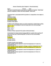 Honors Chemistry Quiz Chapter 6 Thermochemistry 2012