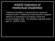 Intellectual disabilities presentation