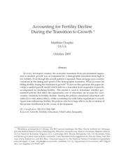 accounting for fertility decline