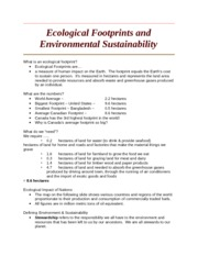 Ecological Footprints and Environmental Sustainability