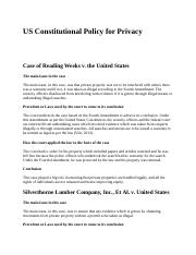 US Constitutional Policy for Privacy.docx