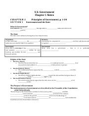 GovernmentChapter 1 notes - Shatayia Clark.docx