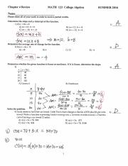 MATH 123 Chapter 4 Review Solutions