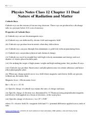 Physics Notes Class 12 Chapter 11 Dual Nature of Radiation and Matter download formula