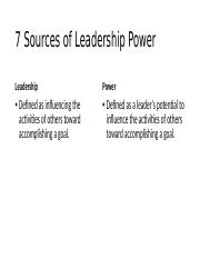 7 Sources of Leadership Power