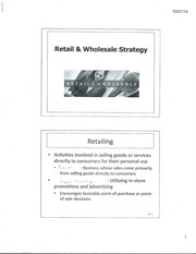 Lecture Material Retail and Wholesale Strategy