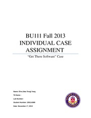 BU111 Fall 2013 INDIVIDUAL CASE ASSIGNMENT