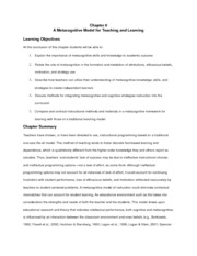 Chapter 6: a metacognitive model for teaching and learning