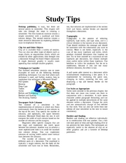 Study Tips (Text for Newsletter)