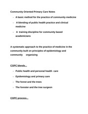 Community Oriented Primary Care Notes
