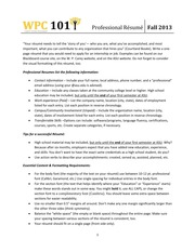Resume - Assignment Handout