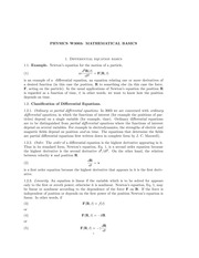 PHYS 3003 Differential Equation Basics Notes