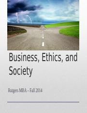 BE&S MBA Fall 2014 - Class 2