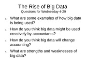 The Rise of Big Data - Questions (1)