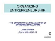 15 - Governance and organization of the new firm
