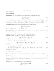 Math 314 Differentiation Notes