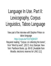 Ling111 Week 11 Language in Use. Part II.Lexicography.ppt