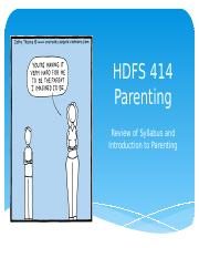 HDFS 414 Intoduction to Parenting