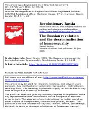Daniel Healey, 'The Russian revolution and the decriminalisation of homosexuality', Revolutionary Ru