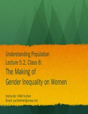 Lecture 5.2- The Making of Gender Inequality on Women