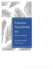 Solution Stoichiometry Short Lab Report