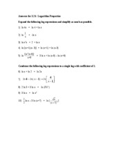 Answers for Logarithm Properties for 3.2A