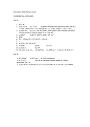 December_2010_Physics_Exam_Numerical_answers