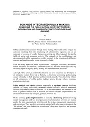 TOWARDS INTEGRATED POLICY MAKING