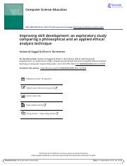 Improving skill development-an exploratory study comparing a philosophical and an applied ethical an