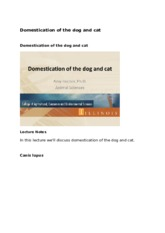 Domestication of Dog and Cat Lecture