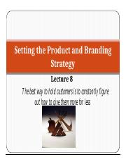 MNU- Lecture 8 Product and Branding