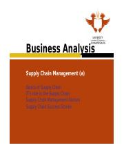 Learning Unit 11 Supply Chain Management (Part a)